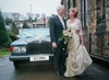Bespoke champagne silk bridal gown and lace shrug, Dec 2009